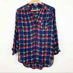 Market and Spruce Popover Top M Plaid Blue Red